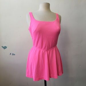Vintage 50's 60's Neon Pink Structured Swimsuit